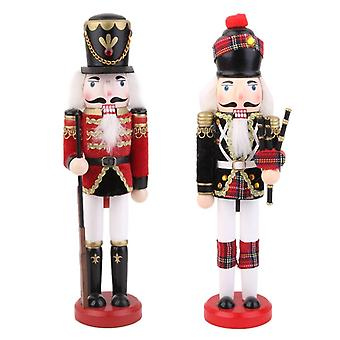 Set Of 2 Xmas Nutcracker Guard Soldier & Bagpipes Walnut Puppet Toy