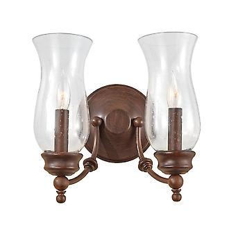 2 Licht indoor kaarsmuurlicht antiek brons, E14