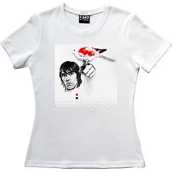 Ian Brown rot, weiß und schwarz Taube weiße Frauen's T-Shirt