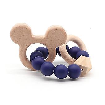 Naturlig Bokträ Med silikonpärlor, HandVäv Teether/armband