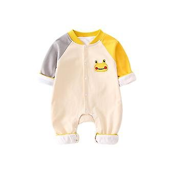 Infant Cotton Romper Long Sleeves Crewneck Snap Button Thick One Piece