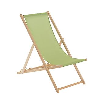 Traditional Adjustable Wooden Beach Garden Deck Chair - Lime Green