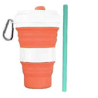 Silicone Folding Lid Leak Proof Coffee Cup With Straw (550ml)