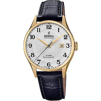 Festina Swiss F20010-1 Men's Gold Tone Case Black Leather Wristwatch