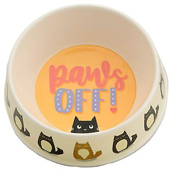 Bamboo Composite Pet Food Bowl - Paws Off Feline Fine Cat X 1 Pack