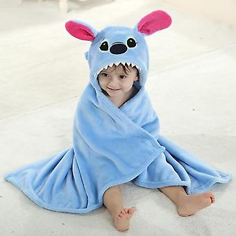 Blue Pink Stitch Animal Cosplay Hooded Baby Infant Flannel Bath Towel Wrap