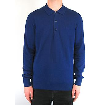 Ink Blue Long-Sleeved Knitted Polo Shirt