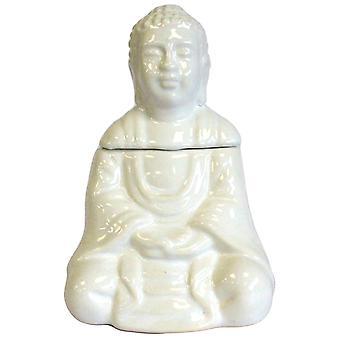 Brûleur d'huile de Bouddha assis - Blanc X 1