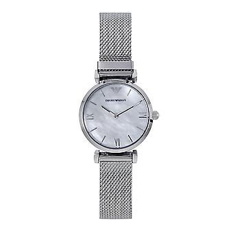 Armani Ar1955 Mother Of Pearl & Silver Stainless Steel Mesh Ladies Watch