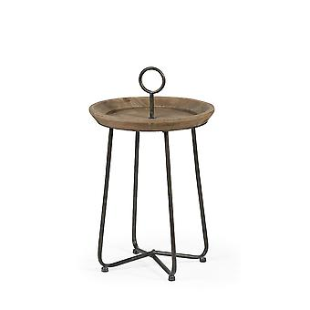 Brown Wood Round Top Accent Table with Black Iron Frame