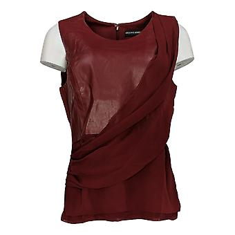 Brooke Shields Timeless Women's Top Faux Leather Front Drape Red A342033