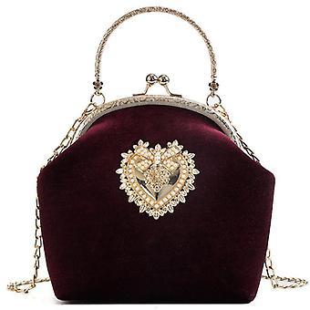 Bolso de perla de terciopelo femenino, diseño de corazón de terciopelo vintage, bolsa de noche, boda