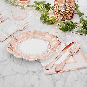 Vintage Rose Gold Paper Plates | Birthday Wedding Party Tableware x12