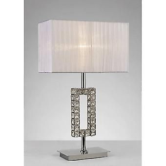 Florence Rechteck Tischleuchte mit weißen Schatten 1 Glühbirne poliert Chrom / Kristall