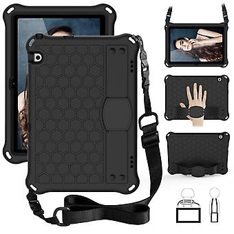 For Huawei MediaPad T5 10.1 Honeycomb Design EVA + PC Material Four Corner Anti Falling Flat Protective Shell With Strap(Black+Black)
