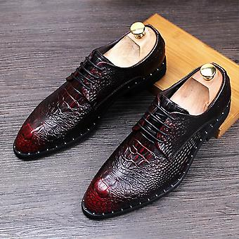 Férfi és apos; s krokodil ruha bőr / csipke-up esküvői party cipő