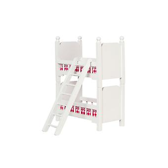 Dolls House Small White Wood Bunk Beds Miniature Bedroom Furniture Bunkbeds