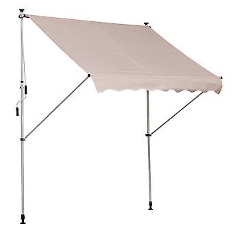 Outsunny Balcony 2 x 1.5m Manual Adjustable Awning DIY Patio Clamp Awning Canopy  Retractable Shade Shelter - Beige