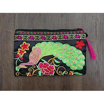 Double Sided Embroidery Women Wallet/fashion Canvas Lagre Size Purses Wristlets