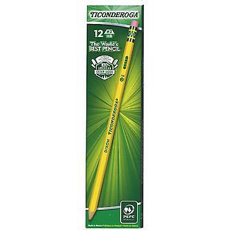 Dixon Ticonderoga No. 2 Pencils, Presharpened, 12/Pkg