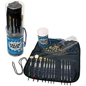 Artist Art Paint Brushes Set of 12 Assorted Soft Grip, Oil, Acrylic, Watercolour