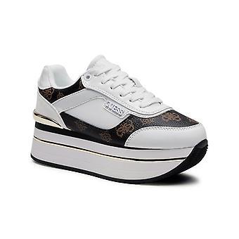 Shoes Women's Sneaker Guess Hansin Runner White/ Brown Ds21gu27 Fl5hnsfal12