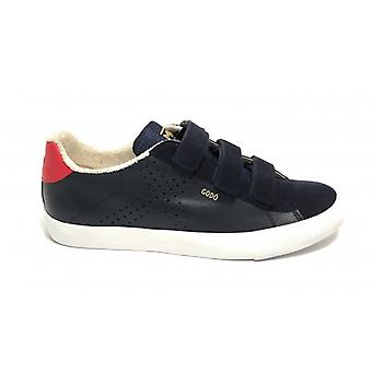 Shoes Munich Sneaker Godò Leather Color Navy Blue/ Red With Strap Men U20mu17