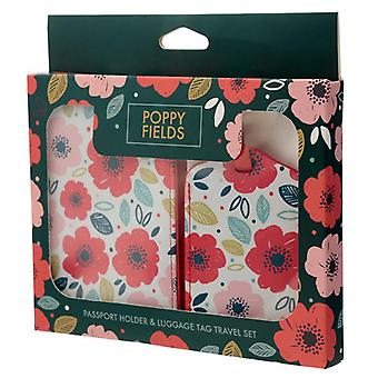 Fun novelty poppy fields luggage tag and passport  set