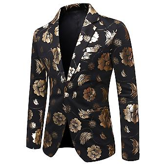 YANGFAN Men's Bronzing Floral Suit Jacket Lapel One Button Blazer