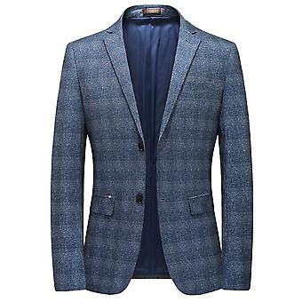 YANGFAN Men's Plaid Blazer Two Button Checked Suit Jacket Blue
