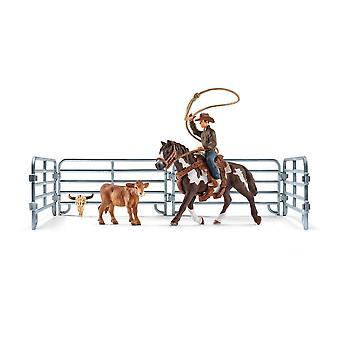 SCHLEICH Farm World Team Roping with Cowboy Toy Playset