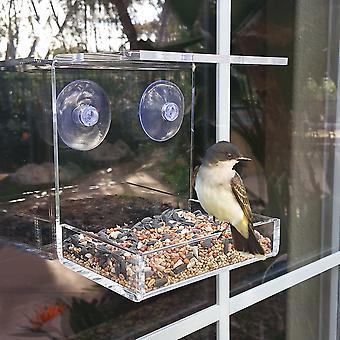OnDisplay Window Mounted Clear Acrylic Bird Feeder Tray