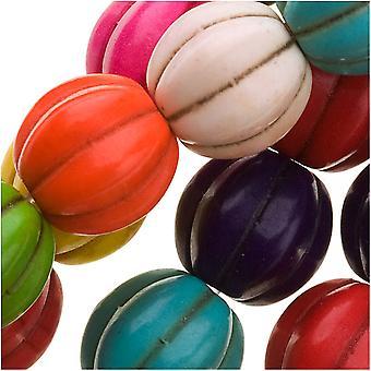 Ädelstenspärlor, färgad magnesit, räfflad melon rund 10mm, 15 tums strand, flerfärgad