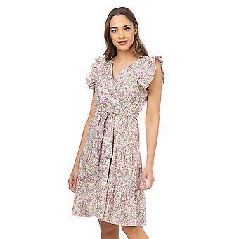 Liberty jurk met bloemenprint met elastische taille en riem