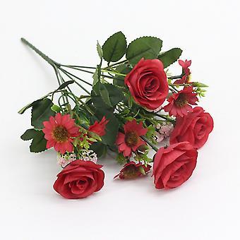 5pcs flor artificial flor rosa europea crisantemo seco flor falsa flor