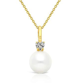 Planetys - 9-carat yellow gold necklace (375/1000), with cultivated pearls, length 42-45 cm