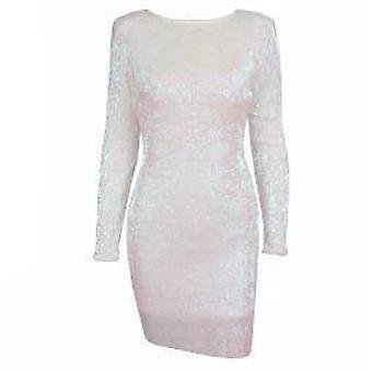 Sexig öppen ryggplatta axel elastiska paljetter klänning svart / röd / vit / champagne för damer