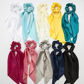10Pcs women silky square scarf hair ring knotted streamers satin