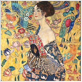 JUNIQE Print -  Klimt - Lady with Fan - Gustav Klimt Poster in Bunt