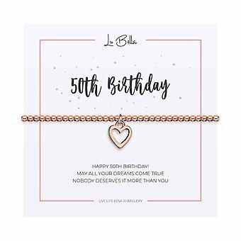 50e anniversaire - 17.5cm Sentiments Bracelet - Or Rose - Bijoux Cadeaux pour femmes de Lu Bella
