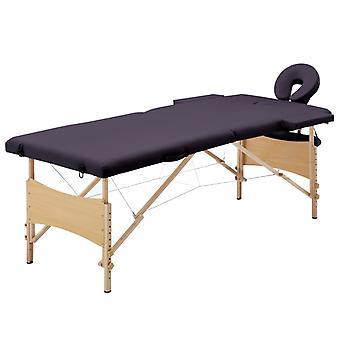 vidaXL Massagetafel Opvouwbaar 2 Zones Hout Paars