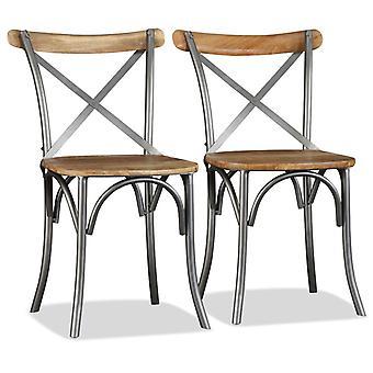 vidaXL sillas de comedor 2 piezas de mango de madera maciza