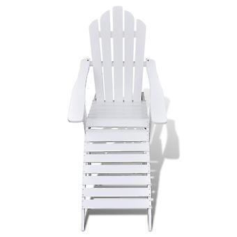 vidaXL puutarha tuoli jalkatuki puu valkoinen