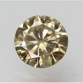 Cert 0.47 Carat Fancy Yellow VS1 Round Brilliant Enhanced Natural Diamond 5.05mm