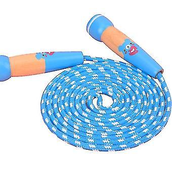 لعبة زرقاء القفز حبل للأطفال قابل للتعديل تخطي حبل مع مقبض خشبي، والرياضة اللياقة البدنية في الهواء الطلق az2294
