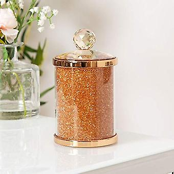 Estella Rose Gold Finish Metal, Glass & Crystal Trinket Box