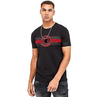 Glorious Gangsta   3677 Damos Flock Print Half-sleeve T-shirt - Black/red