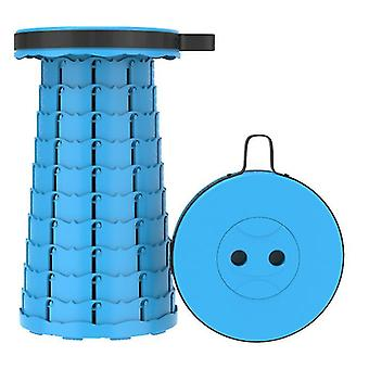 Outdoor folding telescopic stool, portable plastic stool for camping and fishing(Sea Blue)