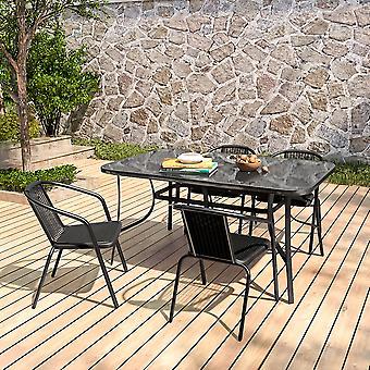 Ensemble de 5 tables parapluie rectangulaires extérieures de 150 cm et ensemble de chaises empilables