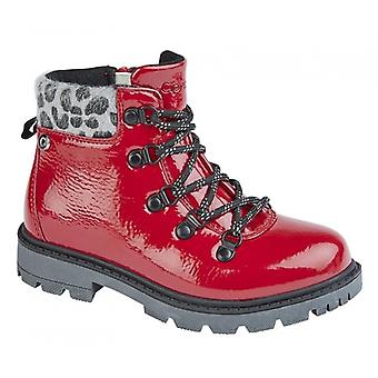 Cipriata Realina Girls Lace Up Ankle Boots Patent Red